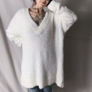 NWOT ZARA Oversized Fuzzy Plush V Neck Sweater